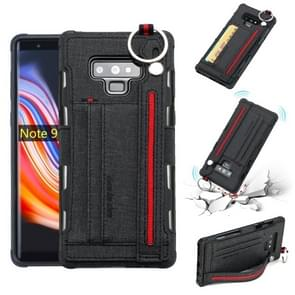 For Galaxy Note9 Cloth Texture + TPU Shockproof Protective Case with Metal Ring & Holder & Card Slots & Hanging Strap(Black)
