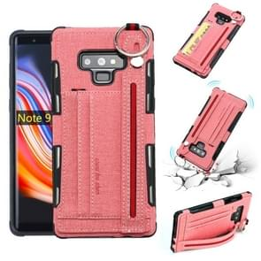 For Galaxy Note9 Cloth Texture + TPU Shockproof Protective Case with Metal Ring & Holder & Card Slots & Hanging Strap(Pink)