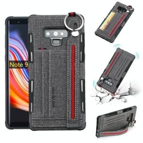 For Galaxy Note9 Cloth Texture + TPU Shockproof Protective Case with Metal Ring & Holder & Card Slots & Hanging Strap(Grey)