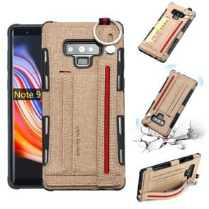 For Galaxy Note9 Cloth Texture + TPU Shockproof Protective Case with Metal Ring & Holder & Card Slots & Hanging Strap(Khaki)