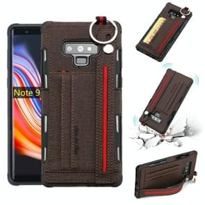 For Galaxy Note9 Cloth Texture + TPU Shockproof Protective Case with Metal Ring & Holder & Card Slots & Hanging Strap(Coffee)