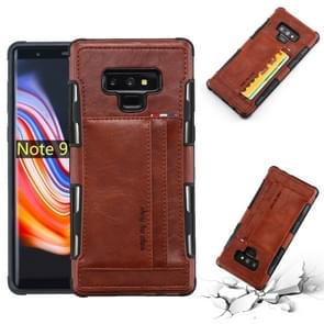 For Galaxy Note 9 PU + TPU Shockproof Protective Leather Case with Card Slots(Brown)