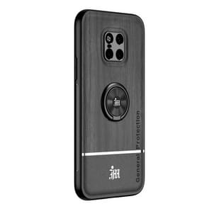Voor Huawei Mate 20 Pro Wood Grain PC + TPU Schokbestendige behuizing met ringhouder(zwart)