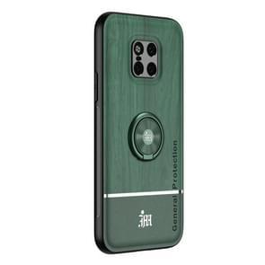 Voor Huawei Mate 20 Pro Wood Grain PC + TPU Schokbestendige behuizing met ringhouder(groen)
