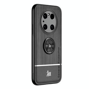 Voor Huawei Mate 40 Pro Wood Grain PC + TPU schokbestendige behuizing met ringhouder(zwart)