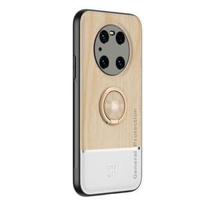 Voor Huawei Mate 40 Pro Wood Grain PC + TPU schokbestendige behuizing met ringhouder(houtkleur)