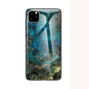 Voor iPhone 11 marmeren glazen beschermhoes (Emerald)