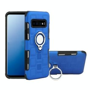 For Galaxy S10+ 2 In 1 Cube PC + TPU Protective Case with 360 Degrees Rotate Silver Ring Holder(Blue)