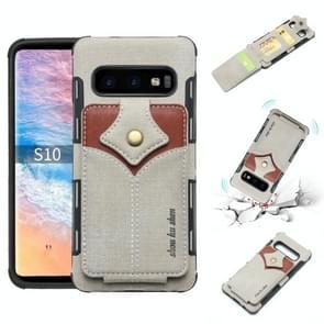 Voor Galaxy S10 doek textuur + PU + TPU schokbestendige beschermhoes met kaartsleuven (grijs)