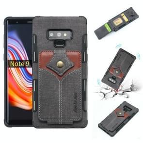 Voor Galaxy Note 9 doek textuur + PU + TPU schokbestendige beschermhoes met kaartsleuven (zwart)
