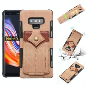 For Galaxy Note 9 Cloth Texture + PU + TPU Shockproof Protective Case with Card Slots(Khaki)