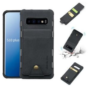 Voor Galaxy S10 PLUS doek textuur + TPU schokbestendige beschermhoes met verticale Flip kaartsleuven (zwart)