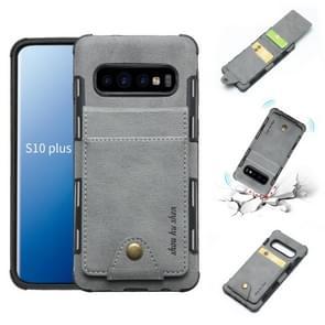 Voor Galaxy S10 PLUS doek textuur + TPU schokbestendige beschermhoes met verticale Flip kaartsleuven (grijs)