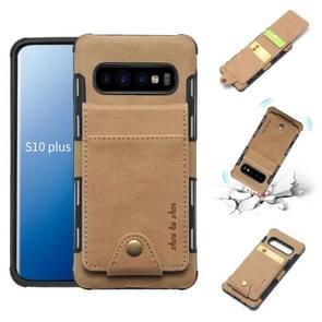 Voor Galaxy S10 PLUS doek textuur + TPU schokbestendige beschermhoes met verticale Flip kaartsleuven (kaki)