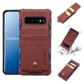 Voor Galaxy S10 PLUS doek textuur + TPU schokbestendige beschermhoes met verticale Flip kaartsleuven (bruin)