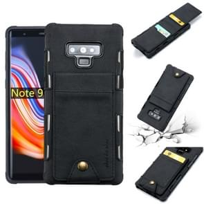 For Galaxy Note 9 Cloth Texture + TPU Shockproof Protective Case with Vertical Flip Card Slots(Black)