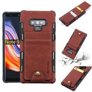For Galaxy Note 9 Cloth Texture + TPU Shockproof Protective Case with Vertical Flip Card Slots(Brown)