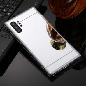 For Galaxy Note 10+ TPU + Acrylic Luxury Plating Mirror Phone Case Cover(Silver)