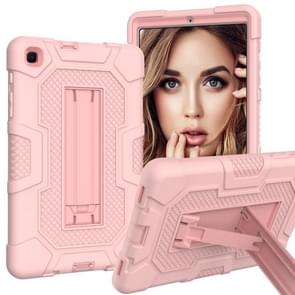 Voor Samsung Galaxy Tab A 8.4 (2020) / T307 Contrast Color Robot Shockproof Silicone + PC Protective Case met Holder (Rose Gold)