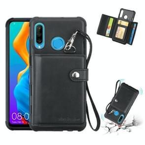 Voor Huawei P30 Lite schokbestendige PC + TPU beschermhoes  met kaartsleuven & portemonnee & foto frame & Lanyard (zwart)