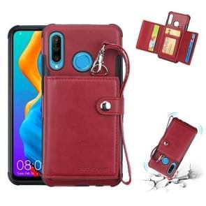 Voor Huawei P30 Lite schokbestendige PC + TPU beschermhoes  met kaartsleuven & portemonnee & foto frame & Lanyard (wijn)