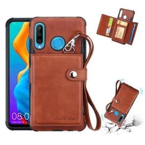 Voor Huawei P30 Lite schokbestendige PC + TPU beschermhoes  met kaartsleuven & portemonnee & foto frame & Lanyard (bruin)