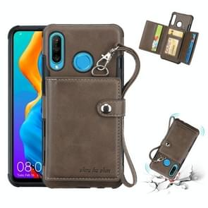 For Huawei P30 Lite Shockproof PC + TPU Protective Case, with Card Slots & Wallet & Photo Frame & Lanyard(Dark Brown)