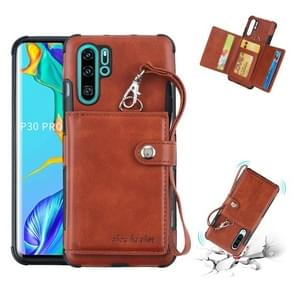 For Huawei P30 Pro Shockproof PC + TPU Protective Case, with Card Slots & Wallet & Photo Frame & Lanyard(Brown)