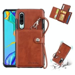 For Huawei P30 Shockproof PC + TPU Protective Case, with Card Slots & Wallet & Photo Frame & Lanyard(Brown)