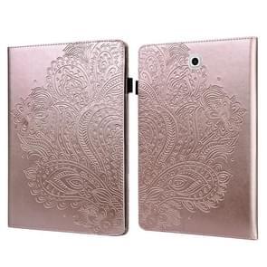 Voor Samsung Galaxy Tab S2 9.7 T815 Peacock Embossed Pattern TPU + PU Horizontale Flip Lederen Case met Holder & Card Slots & Wallet(Rose Gold)