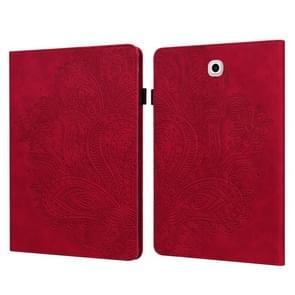 Voor Samsung Galaxy Tab S2 9.7 T815 Peacock Embossed Pattern TPU + PU Horizontal Flip Leather Case met Holder & Card Slots & Wallet(Red)