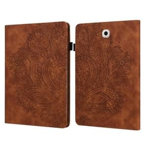 Voor Samsung Galaxy Tab S2 9.7 T815 Peacock Embossed Pattern TPU + PU Horizontal Flip Leather Case met Holder & Card Slots & Wallet(Brown)