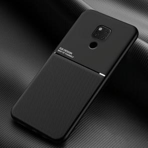 Voor Huawei Mate 20 X Classic Tilt Strip Grain Magnetic Shockproof PC + TPU Case(Zwart)