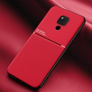 Voor Huawei Mate 20 X Classic Tilt Strip Grain Magnetic Shockproof PC + TPU Case(Red)