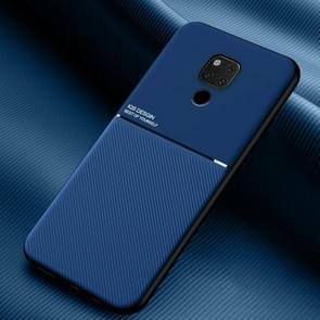 Voor Huawei Mate 20 X Classic Tilt Strip Grain Magnetic Shockproof PC + TPU Case(Blauw)