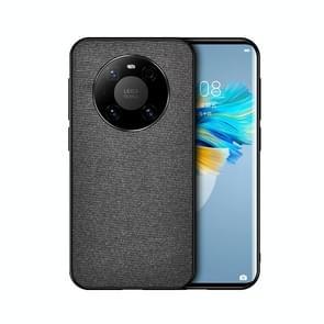 Voor Huawei Mate 40 Schokbestendige Splicing PU + Doek beschermhoes (Curtain Black)