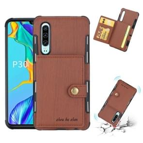 For Huawei P30 Brushed Texture Shockproof PU + TPU Case, with Card Slots & Wallet & Photo Frame(Brown)