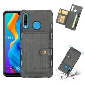Voor Huawei P30 Lite geborsteld textuur schokbestendig PU + TPU case  met kaartsleuven & portemonnee & fotolijstjes (grijs)