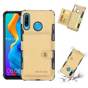 Voor Huawei P30 Lite geborsteld textuur schokbestendig PU + TPU case  met kaartsleuven & portemonnee & fotolijstjes (goud)