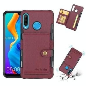Voor Huawei P30 Lite geborsteld textuur schokbestendig PU + TPU case  met kaartsleuven & portemonnee & fotolijstjes (wijn rood)