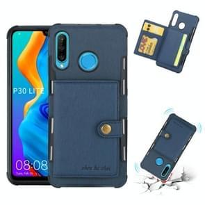 Voor Huawei P30 Lite geborsteld textuur schokbestendig PU + TPU case  met kaartsleuven & portemonnee & fotolijstjes (blauw)