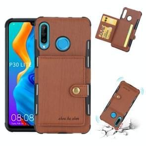 Voor Huawei P30 Lite geborsteld textuur schokbestendig PU + TPU case  met kaartsleuven & portemonnee & fotolijstjes (bruin)