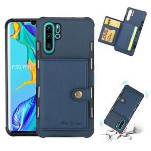 Voor Huawei P30 Pro geborsteld textuur schokbestendig PU + TPU case  met kaartsleuven & portemonnee & fotolijstjes (blauw)