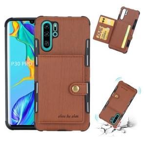 Voor Huawei P30 Pro geborsteld textuur schokbestendig PU + TPU case  met kaartsleuven & portemonnee & fotolijstjes (bruin)
