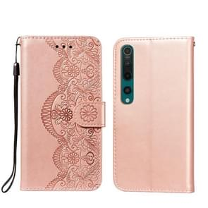 Voor Xiaomi Mi 10 Pro Flower Vine Embossing Patroon Horizontale Flip Lederen Case met Kaart Slot & Houder & Portemonnee & Lanyard (Rose Gold)