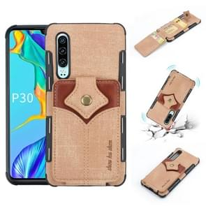 For Huawei P30 Cloth Texture + PU + TPU Shockproof Protective Case with Card Slots(Khaki)