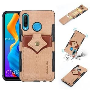 For Huawei P30 Lite Cloth Texture + PU + TPU Shockproof Protective Case with Card Slots(Khaki)