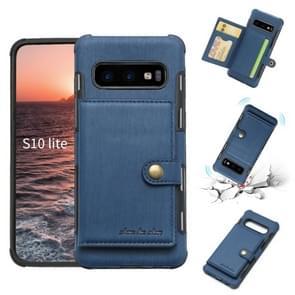 Voor Galaxy S10e geborsteld textuur schokbestendig PU + TPU case, met kaartsleuven & portemonnee & fotolijstjes (blauw)