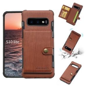 Voor Galaxy S10e geborsteld textuur schokbestendig PU + TPU case, met kaartsleuven & portemonnee & fotolijstjes (bruin)