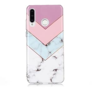 For Huawei P30 Lite Coloured Drawing Pattern IMD Workmanship Soft TPU Protective Case(Tricolor)